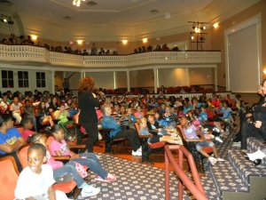 "School Audience ""talk back"" after Alice in Wonderland"